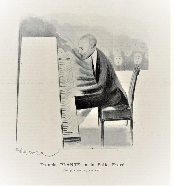 E. レオンデュフールによるフランシス・プランテの風刺画(1902)