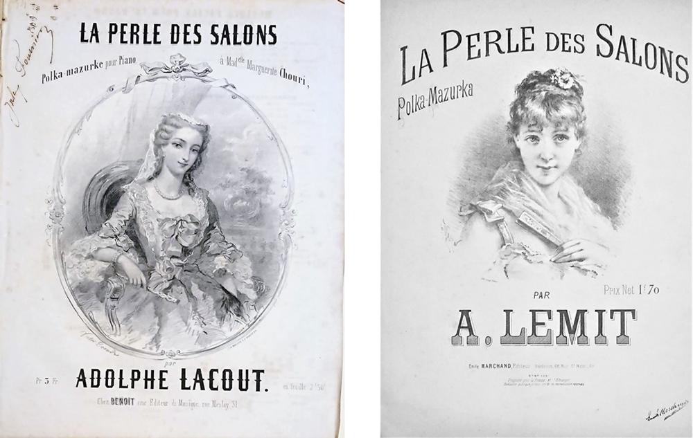(左):アドルフ・ラクー《サロンの真珠―-ピアノのためのマズルカ》(1857年刊) (右):A. ルミ《サロンの真珠―ピアノのためのポルカ=マズルカ》(1863年刊)